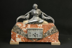 DECO MARBLE CLOCK WITH FIGURE CLOCK