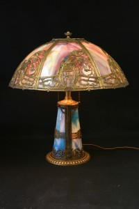 BRASS COLORED GLASS LAMP